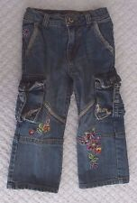 The Children's Place 3T Girls Flare Jeans Spring flowers pockets distressing