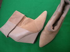 LADIES NEAR NEW SPORTSGIRL BEIGE SUEDE / LEATHER PULL ON WEDGE  BOOTS SIZE 9
