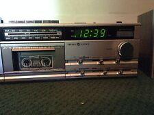 Vintage Retro General Electric AM/FM Stereo Clock Radio Cassette Recorder Works