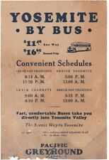 1931 Pacific Greyhound Bus Line Schedule to Yosemite Valley from San Francisco