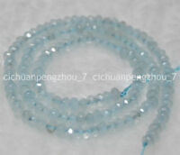 """Faceted 4x6mm Natural Aquamarine Abacus Rondelle Loose Beads 15"""""""