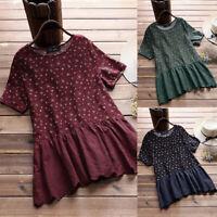 ❤️ Women Floral Print Cotton Linen Loose Bloust Tops Ladies Casual O Neck Blouse