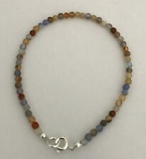 """Multi-Coloured Agate 7.25"""" Threaded Bracelet with Sterling Silver Clasp"""
