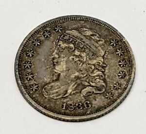 1836 Capped bust half dime (5C)