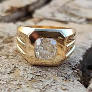 2.00 Ct Moissanite Solitaire Gents Ring Men's Wedding Ring Men's Moissanite Band