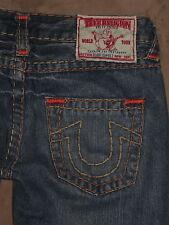 True Religion Size 27 Bobby Super T Flare Distressed Dark Blue Denim Womens Jean