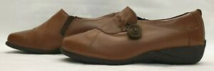 TLC Ladies Womens Shoes Size 6.5 EU 39.5 Brown Leather Nursing Comfort Wide Fit