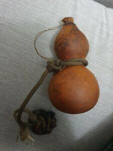 Vintage Japanese Sake Bottle Gourd Hyotan with Tiger Netsuke