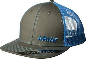 Ariat Men's Adjustable Snapback Mesh Cap Hat (Grey/Blue, One Size)