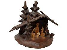 Vintage hand carved wood Black Forrest Creche.
