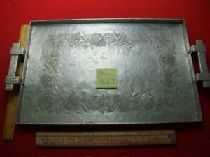 VINTAGE COLLECTIBLE CANTERBURY ARTS HAMMERED & STAMPED ALUMINUM SERVING TRAY VGC