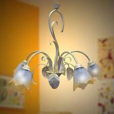 LAMPADARIO plafoniera BIANCO SHABBY FERRO BATTUTO 5L murano camera da letto