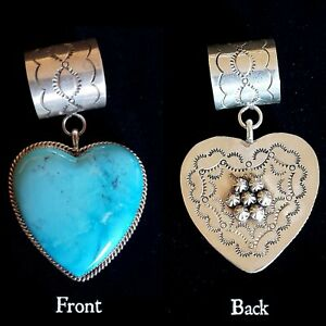 """2"""" Authentic Rocki Gorman Double Sided Turquoise & Etched Silver Heart Pendant"""