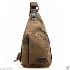 Men's Brown Military Canvas Messenger Shoulder Hiking Fanny Crossbody Sports Bag