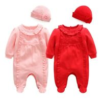 Newborn infant clothes girls bodysuit+hat party wedding outfits baby shower gift