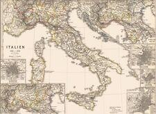 Vecchia Carta geografica Italia nel medioevo Italia quattro grandi Firenze Milano 1879