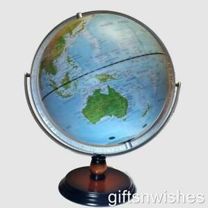 MAGNIFICENT 30cm QUALITY World Globe Embossed Raised Relief Gimbal Home Decor