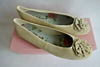BNIB Pretty Ballerinas Suede Leather Ballet Flat Shoes UK 8 EU 41 Rosette Sand