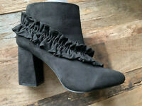 "Heavenly Soles Faux Suede Ankle Boots UK 8 Wide  3.5"" Block Heel Zip Imperfect"