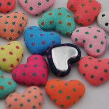 Polka-dot printing Fabric covered chunky Heart button flat back as jewelry CT07