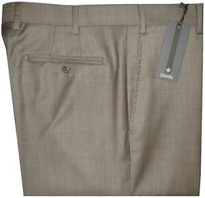 $325 NWT ZANELLA ITALY DEVON KHAKI TAUPE WEAVE SUPER 120'S WOOL DRESS PANTS 36