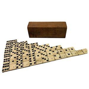 Antique Vintage Double 6 Dominos Bone &  Ebony Full Set In Original Wooden Box