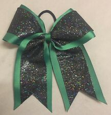 Forest Green Bow with Black Glitter overlay Cheer/Softball/Volleyball Bow