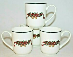 Johnson Brothers Victorian Christmas Porcelain Coffee Mugs Set of 4 New