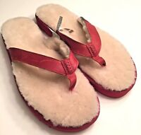 UGG Fur Lined Sandals Classic Leather Sheepskin Mens Flip Flop Thongs Size 17 US