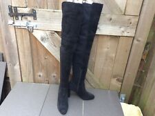 NEW DUNE STELLA - BLACK REAL SUEDE LACE UP BACK OVER THE KNEE BOOTS 5 UK/ 38 EUR