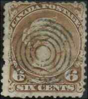 Canada #27a used VG-F 1868 Queen Victoria 6c yellow brown Large Queen CV$45.00