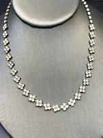 Stunning 1950's Clear Rhinestones Vintage Necklace Wedding Flower Girl 16""