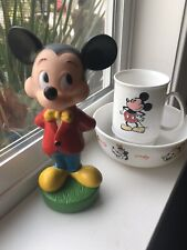 New listing Vintage Mickey Mouse Cup- Mickey, Pluto, Gimminy, Goofy Bowl & Mickey Rubber Toy
