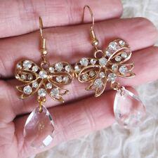 Womens Rhienstones Bow Clear Teardrop Bead Dangle Drop Gold-Tone Hook Earrings
