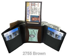 BROWN MENS GENUINE LEATHER 7 CARD ID WINDOW FLAP TOP TRIFOLD FRONT POCKET WALLET