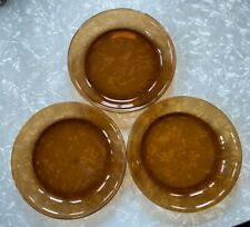 """Vintage Lot: 3 FIRE KING Oven Proof 9"""" Pie Plate ANCHOR HOCKING USA Amber Brown"""