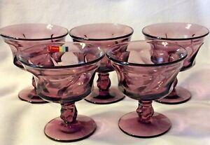Jamestown by Fostoria Amethyst Purple Tall Vintage Sherbet Glasses (5)