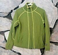 Kuhl Womens Sz M Medium Full Zip 100% Merino Wool Sweater Jacket Green Outdoor