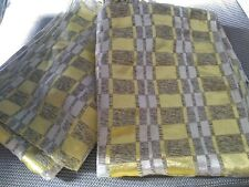 Vintage Curtains Yellow and Grey rectangular Pattern sheen and may thread used