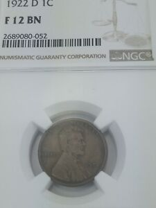 1922-D Lincoln Head Cent NGC F-12 BN - Better Date Strong 'D' - FREE SHIPPING