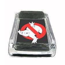 "80's Theme D2 Glass Square Ashtray 4"" x 3"" Smoking Cigarette No Ghosts"