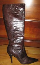 LEATHER BOOTS IN BROWN CROC-EMBOSSED BY VIA SPIGA POINTY TOES 8 ITALY CHIC