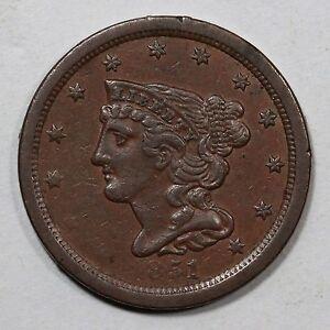 1851 C-1 Braided Hair Half Cent Coin 1/2c