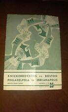 11-15-1952 NBA NY Knicks vs. Boston Celtics & Phil.Warriors vs Ind. Olympians