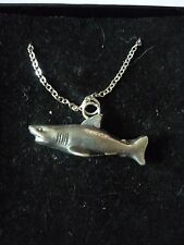 """Shark TG6 Pewter On 16"""" Silver Plated Curb Necklace"""