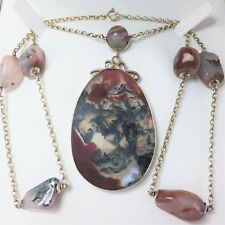 """Antique Scottish 9ct Moss Agate Chalcedony Necklace OUTSTANDING 24"""" VLARGE 47g"""