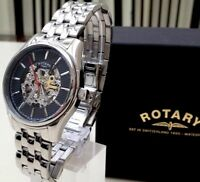 Rotary Automatic Swiss Men's Watch Skeleton Watch Used RRP £210 Boxed