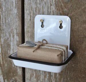 Nostalgie Wand Seifenschale, Emaille Optik, Landhaus Vintage shabby Metall