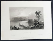 1840 William Bartlett Antique Print View of Fort Chambly, Quebec Canada