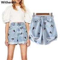 Women Jeans Vintage High Waist Hole Short Mickey Jeans Denim Sexy Shorts Pants